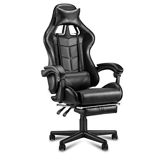 Soontrans Sedia Gaming con Poggiapiedi Sedia da Ufficio Poltrona da Gaming Ergonomica Girevole con Poggiatesta e Cuscino Lombare (Nero)