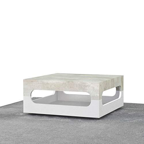 icreo Table basse double jeu en bois mélaminé de haute qualité, finition blanc et béton. Vous pouvez tourner la table aujourd'hui sur le dessus du béton, demain blanc.