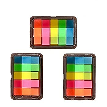 iMagitek 3 Sheet Neon Index Tabs Flags Page Markers Sticky Notes with Box Translucent Book/Page Marker Stationery Strips 300 Pieces