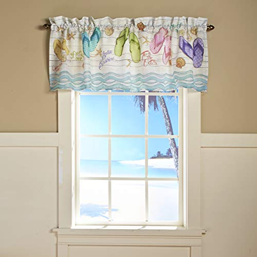 The Lakeside Collection Flip Flop Beach Theme Bathroom and Kitchen Window Valance with Rod Pocket