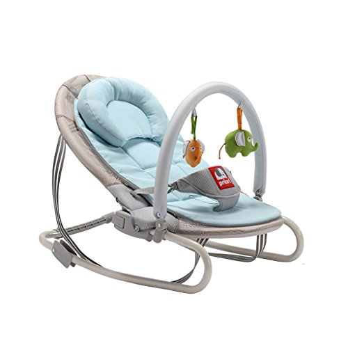 Qivor Cochecito de bebé Instalación Mecedora de bebé Cuna Comfort reclinable Plegable Libre de Invierno y Verano Mecedora reclinable (Color : Sky Blue)