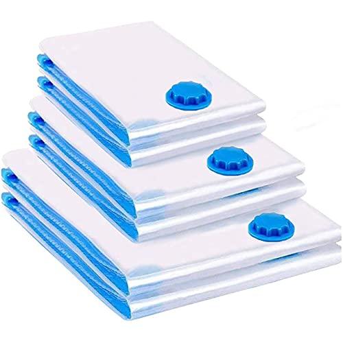 Bolsas de almacenaje al vacío para ropa, 6 unidades, tamaño grande 100 x 80, tamaño mediano 80 x 60, pequeño 60 x 40, adecuado para aspiradora, bolsas de vacío para ropa, bolsas de vacío