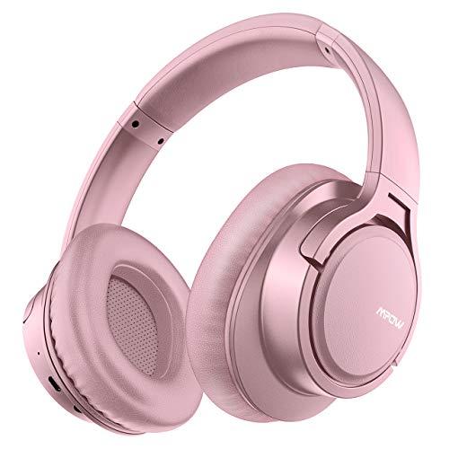 [Verbesserte]Mpow H7 Bluetooth Kopfhörer over Ear, over Ear Kopfhörer mit Kräftigen Bass-Sound, 25 Stunden Spielzeit, Memory-Protein Ohrpolster, CVC6.0 Mikrofon Freisprechen für Smartphone/PC, Rosa