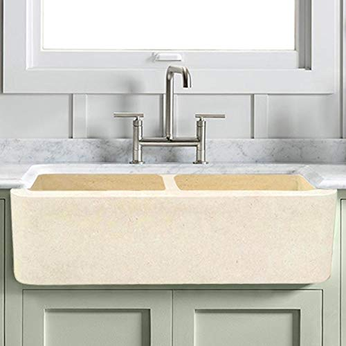 Best Deals! Magnus Home Products 36 Kitchen Sink Hadar Smooth Polished Egyptian Cream Marble Double...