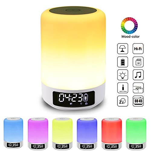 Night Light & Alarm Clock with Bluetooth Speaker, Smart Touch Sensor Bedside Lamp, (Dimmable 3 Level Warm White Light & Six Color Changing RGB, Micro SD Supported)