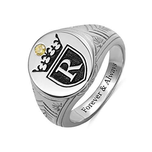 Personalised Monogram Signet Rings with Crown & Birthstone for Him Men College Initials Rings 925 Sterling Silver Custom Engraved Band Ring Letter Ring