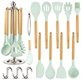 Silicone Kitchen Cooking Utensil Set, EAGMAK 16PCS Kitchen Utensils Spatula Set with Stainless Steel Stand for Nonstick Cookware, BPA Free Non-Toxic Cooking Utensils, Kitchen Tools Gift (Mint Green)