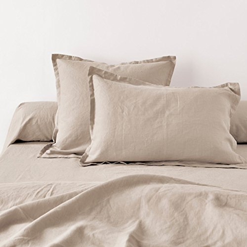 Home Inspiration Taie d'oreiller avec Volant Lin, Coton, Beige, 50x70 cm