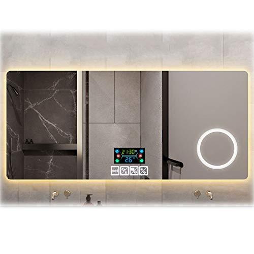 Weiye LED Espejo Sin Marco Baño, Bluetooth Incorporado, El Tiempo, La Temperatura Y La Fecha, Función De Zoom, Espejo Antivaho, Pantalla Táctil Inteligente, 60 * 80Cm