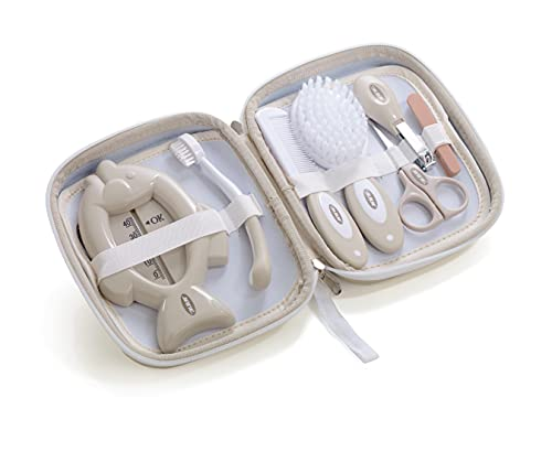 Jané Set de Higiene con Neceser, Peine, Cepillo Cerda Natural, Tijeras, Cortauñas, Limas, Cepillo Dental y Termómetro, Beige