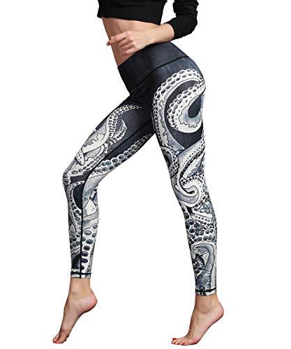 HAPYWER Yoga Leggings Damen Hohe Taille Sporthose Muster Trainingshose Fitnesshose Tummy Control für Laufen Yoga Workout Gym(Schwarz,M)