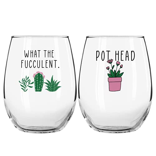 Succulent Plant Cactus Gifts for Women- Set of 2 Funny Wine Glasses 15oz - Plant Lover Gift Mug - What the Fucculent- Pot Head Crazy - Plant Lady Wine Glass Tumbler - Custom Stemless Wine Glasses