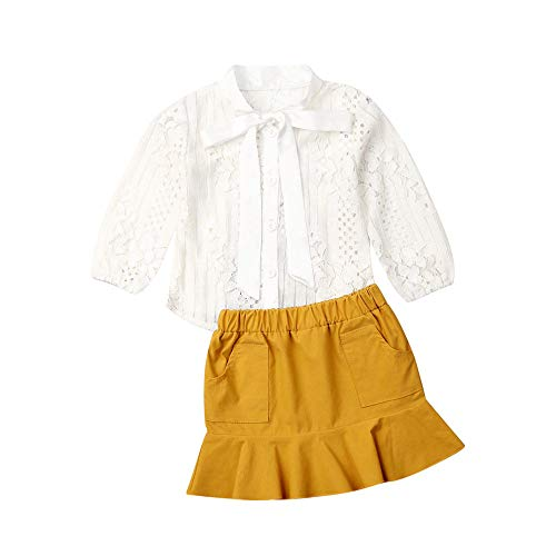 Toddler Baby Girls Fall Clothes Lace Botton Down Shirts Top Ruffle Skirt Dress Fashion Outfits (Lace Shirts and Yellow Skirt, 3-4T)
