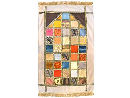 manpaper - Flicken Design Muslimische Gebetsteppich Namaz-LIK Seccade, Gebets Matte   Salah Sejadah, Islamic Prayer mat Rug, für das Gebet im Islam, 1,20x0,7m… (2. Beige - Erwachsen)