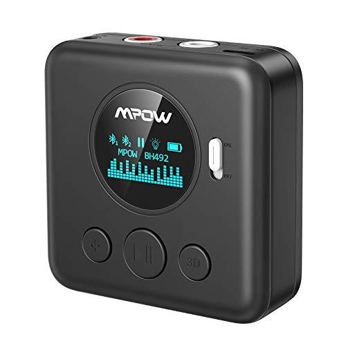 Mpow Aux Bluetooth Empfänger, Bluetooth Aux Adapter mit OLED-Bildschirm, Multipoint Bluetooth, 3,5 mm & Cinch-Eingang, 15m Reichweite, 10 Stunden Musik-Streaming für Heim Auto Lautsprechersystem