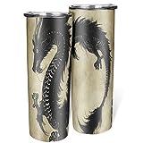 Banniyouall Vaso de dragón negro aislado acero inoxidable taza de viaje personalizada con paja para adultos y niños blanco 600ml (20 oz)