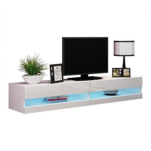 MEBLE FURNITURE & RUGS Vigo New 180 LED Wall Mounted 71' Floating TV Stand (White)
