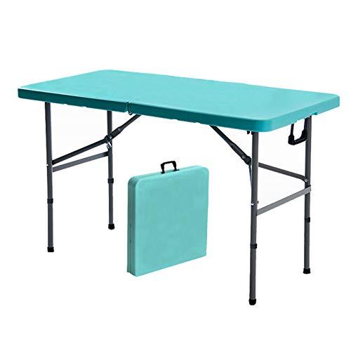 HXGL-Drum Mesa Plegable para Uso General Plegable por la Mitad, portátil, de plástico, para Picnic, Comedor, Mesa de Campamento, Multiusos, Ajustable para la Oficina en casa