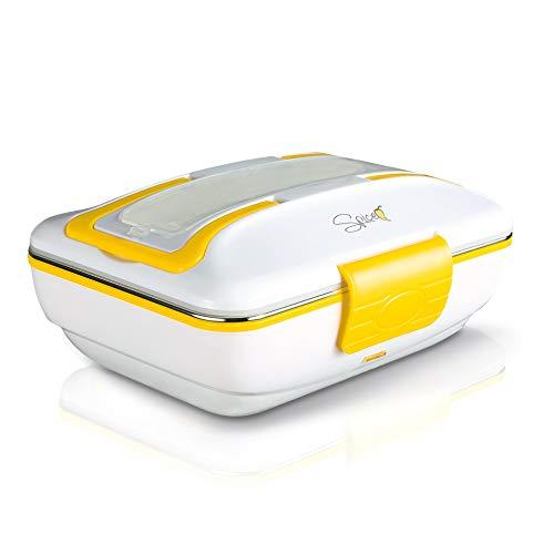 Spice -Fiambrera eléctrica Modelo «Amarillo INOX» con Bandeja extraíble de Acero Inoxidable portátil, Recipiente de Comida térmico Vaschetta estraibile acciao INOX 0,9 L