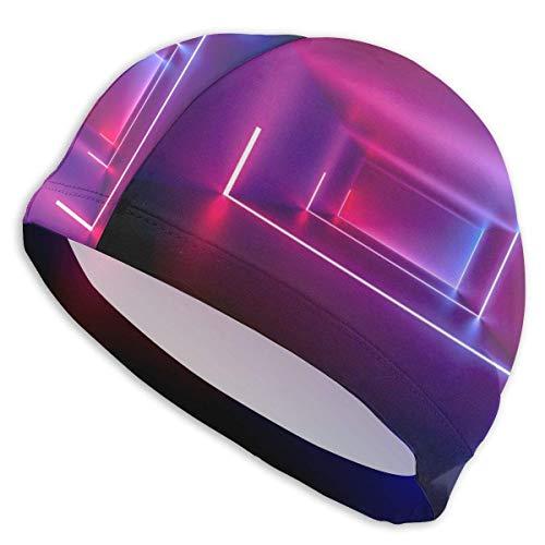 Harley Dulles Gorra de baño de diseño Abstracto de neón púrpura Gorra de natación de Elasticidad Duradera