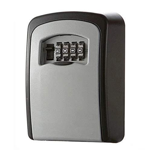 QiHaoHeji Caja de almacenamiento para llaves de pared, para montaje en pared, con combinación de contraseña, color gris y negro, tamaño: talla única.