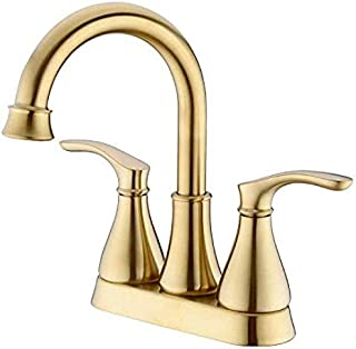 Kitchen Sink taps Washbasin Sink Mixer tap with pop-up Waste 2-Hole 2-Hole Handle Mounted on Deck 360-degree Rotating Pot Brushed Golden Beak
