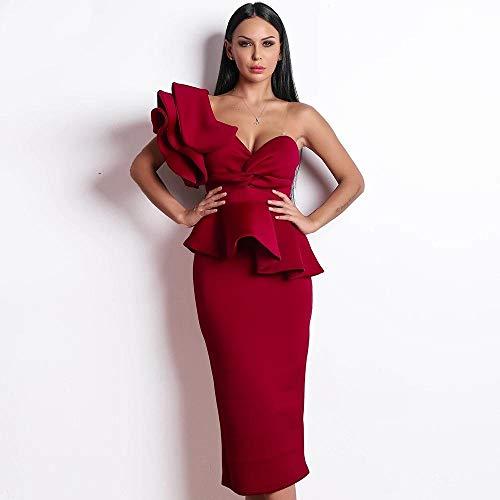 MA Sexy Primavera y Verano Vestidos sin Espalda de un Solo Hombro Vestido Elegante de Sirena con Volantes para Mujer-Vino Rojo_Metro