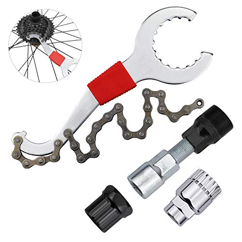 Inntek Fahrrad Kassette Removal Tool, Multifunktional Fahrrad Reparatur Set Kettenpeitsche Fahrrad Reparatur Werkzeug Set mit 5-11 Fach Kompatibel Kettenpeitsche Kurbel Kette Achse Demontage Werkzeug