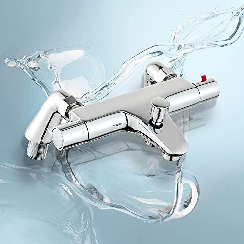 Fugo Mitigeur de douche thermostatique, robinets de douche thermostatiques de baignoire, Contrôle de température constante pour baignoire-monté sur baignoire