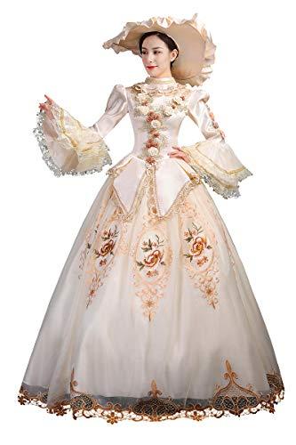 Damen Kleid Rokoko Barock Marie Antoinette Ballkleid 18. Jahrhundert Renaissance Historische Periode Kleid für Frauen - Beige - Maßanfertigung :Sagen Sie Uns Ihre Messungen