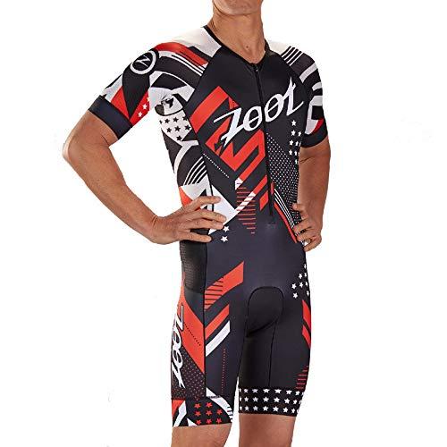 Zoot Aero Triathlon Triathlon Uomo Squadra Stile Tuta da Gara con Maniche, Elementi Riflettenti, SPF 50+, Due Tasche Posteriori e Cerniera Frontale da 15 cm Dimensione S
