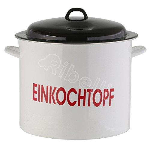 Einkochtopf, Einkocher emailliert, Glühweintopf geeignet für alle Herdarten, Glühweinkocher mit Deckel, ca. 25 Liter, Ø 36 cm