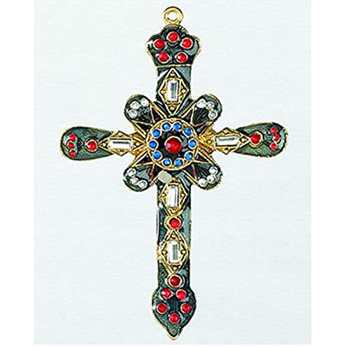 Green and Gold Cross with Gems Metal Christmas Tree Ornament Decoration New