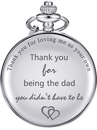 Regalos de Padre Reloj de Bolsillo Cuarzo para Padrastro, Padrastro Cumpleaños Navidad Día de Padre - Thank You for Loving Me as Your Own, Thank You for Being the Dad You Didn
