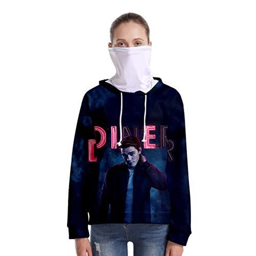 Riverdale Pullover Damen mit Mundschutz, Teenager Mädchen Southside Serpents Jughead Jones Hoodie Bandana Herren Frauen 3D Galaxy Sweatshirt Halstuch Männer Kapuzenpullover Pulli Shirt (20,S)