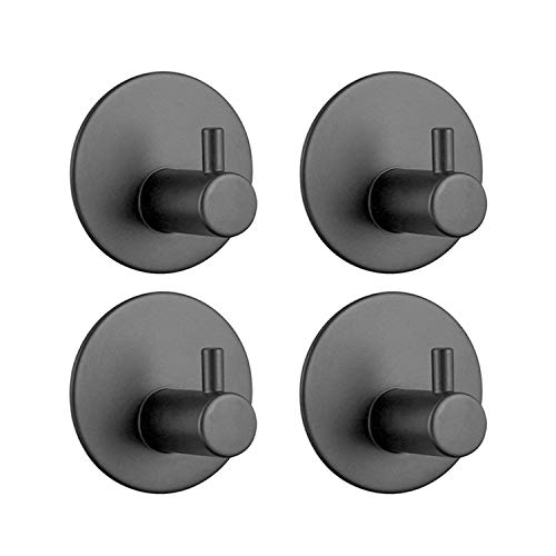Paquete de 4 ganchos autoadhesivos de acero inoxidable en la pared, resistentes al agua, ganchos adhesivos para cocinas, baños, lavabos, armarios, oficina