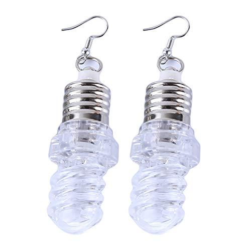 Timesuper LED-Ohrringe leuchten Glühbirnenform Tropfen Tropfen baumeln Haken Ohrringe Tanzparty Zubehör,Spiral