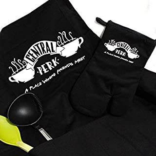 Savvy Gifts Central Perk Apron and Oven Mitt Gift Set-Friends TV Show Merchandise-100% Premium Quality Cotton