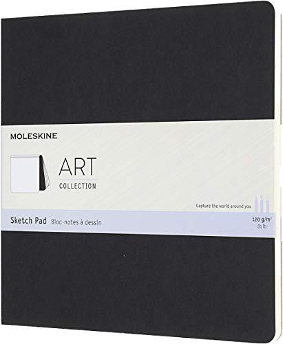 Moleskine Art Sketch Pad, Soft Cover, Square (7.5' x 7.5') Plain/Blank, Black, 48 Pages