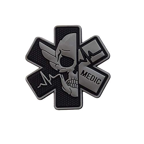 Ohrong Medic Rubber Patch 3D PVC Emblem Tactical ACU EMS EMT MED Paramedic First Aid Morale Skull Military Hook Fasteners Badge for Bag Backpack First Aid Kit Pouch (Black-Gray)