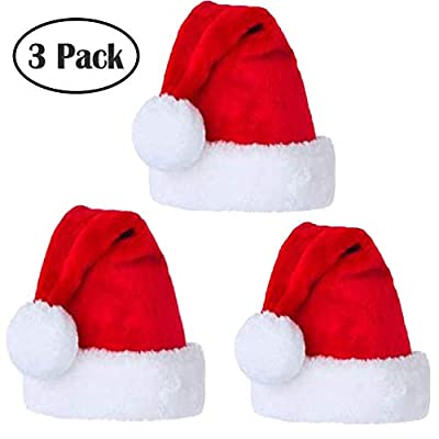 BiBOSS Santa Hat Velvet Christmas Hats for Adults and Kids Xmas Santa Hats Cap, 3 Pieces
