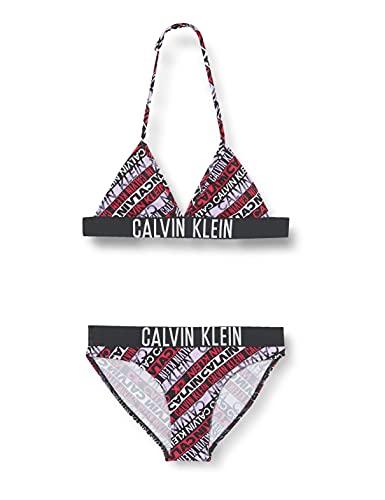 Calvin Klein Mädchen Triangle Print Bikini-Set, Intense Power Logo AOP Girls, 12/14/2020