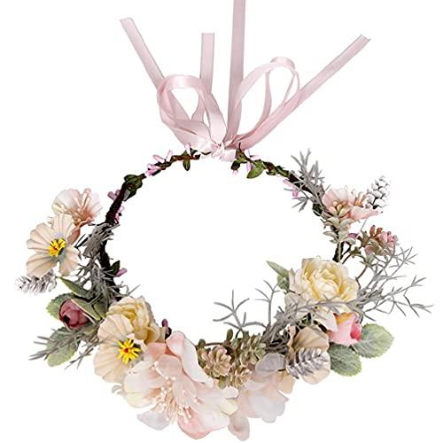 JINGDU - Diadema floral hecha a mano, corona de flores de bayas, con cinta rosa, accesorio para el pelo, accesorio para el cabello, diadema para niñas con cinta rosa