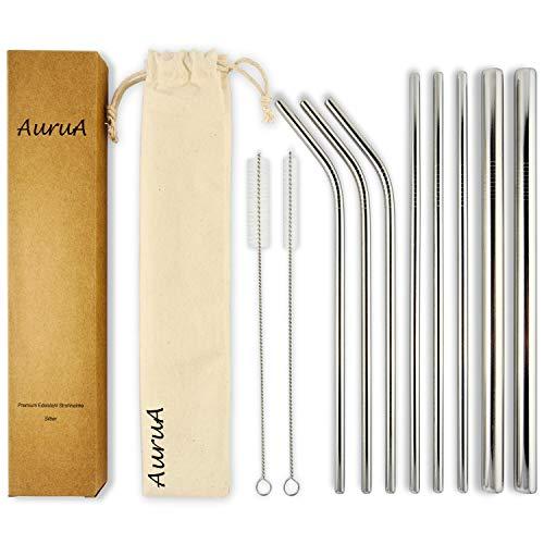 AuruA® Plastikfreie Trinkhalme aus Edelstahl extra lang 270mm | Metall Strohhalm Set wiederverwendbar, breite Jumbo Strohhalme | für Cocktails, Smoothies & Bubble Tea | umweltfreundlich
