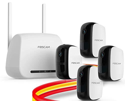Foscam E1 Sistema sin Cables - Cámara IP WiFi a batería con grabación en la Nube Gratis, 1080P HD, detección, Seguridad, visión Nocturna, Audio bidireccional, Uso en Interiores/Exteriores (Pack-4)