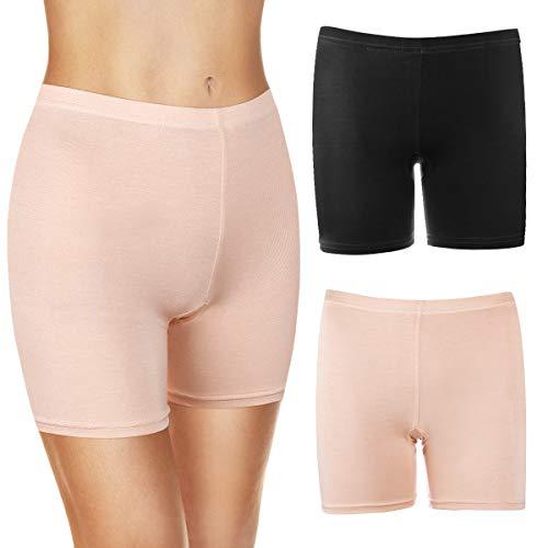 MELLIEX 2per Damen Shorts Radlerhose, Unterhosen Baumwolle Kurze Leggings Sicherheitshose Elastisch Weich Leicht Boyshorts