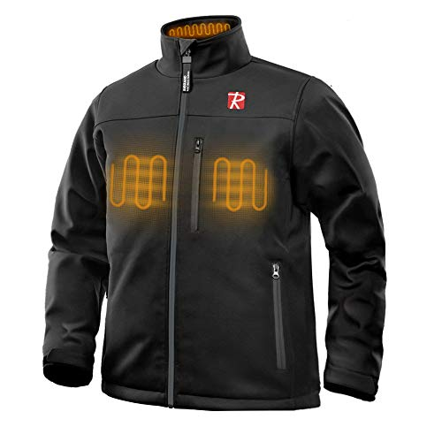 Heated Jacket for Men with 5 Heated Zone and 7.4V 10050mAh Battery Passed UL Certification Comfortable Stylish Warm (Large) Black