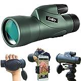 Gosky - Telescopio monocular de Alta definición y Soporte rápido para Smartphone, monocular Resistente al Agua, BAK4 Prisma para observación de pájaros, Caza, Camping, Viajes, Vida Silvestre, 12 x 55