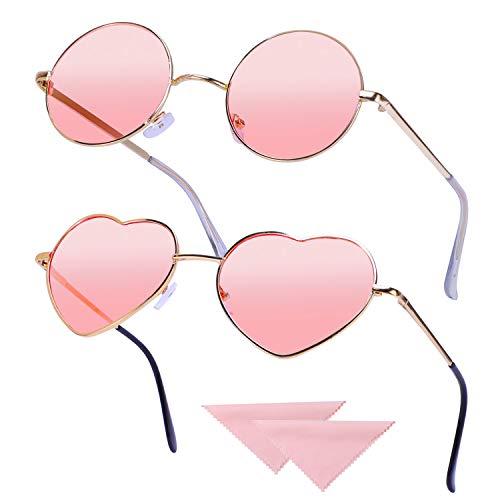 HIFOT 2 Stück Hippie Brille Retro Runde Brille Herzförmige Brille Set für 60er 70er Jahre Kostümzubehör Vintage Sonnenbrille mit 2 Stück Putztuch, Rose Gold Frame Pink