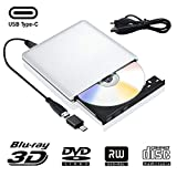 External Blu Ray CD DVD Drive 3D, USB 3.0 and Type USB C Bluray DVD CD RW Row Burner Player Compatible for MacBook OS Windows 7 8 10 PC iMac